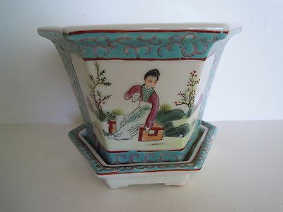 Vintage Chinese Famille Rose/Verte Six-Sided Flower Pot Planter w Underplate