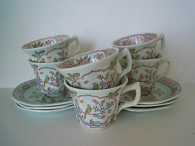 """Six 6 Antique Adams Calyx Ware """"Singapore Song"""" Cups & Saucers, Old Mark #2744"""
