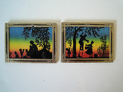 Pair of Antique Reverse Painted Silhouette Pictures, Parents, Children, Family