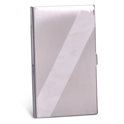 Oblique Line Name Credit ID Business Card Holder Box Metal Case Stainless Steel