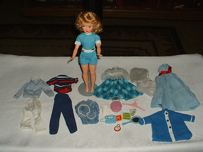 Vtg. Ideal Tammy Doll Wearing Original Blue Jumpsuit + Outfits & Accessories
