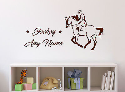 Personalised Horse and Jockey Wall Sticker Mural Home Decal Room Vinyl Art Decor