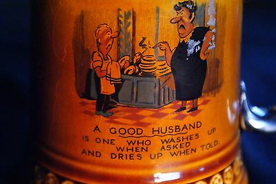 VINTAGE LORD NELSON COMICAL BEER MUG,STEIN 'A GOOD HUSBAND' made in ENGLAND #571