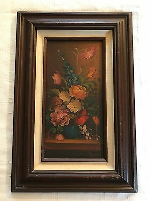"Vintage Signed & Framed Original Oil on Board Floral in Vase Painting (6"" X 12"")"