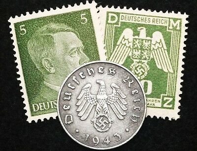 Authentic Old Rare  WWII German 10 Rp Coin & UNC Stamps World War 2 Artifacts