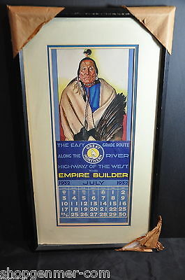 Winold Reiss: Great Northern Railway Framed 'Big Face Chief' July 1932 Calendar