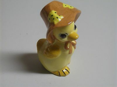 Vintage Easter Yellow Duck with Bonnet  Glazed Ceramic Figurine
