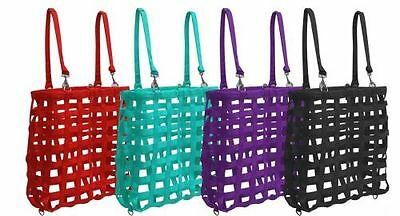 New Showman Square Heavy Webbed Nylon Hanging Slow Feed Hay Bag Double Straps