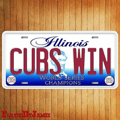 Chicago Illinois CUBS WIN World Series Champions Baseball Team License Plate