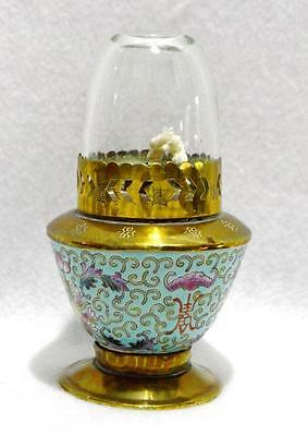 Antique Chinese  Porcelain, Brass & Glass Oil Lamp~Hong Kong~5.5""