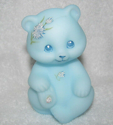 "Fenton Vintage Hand Painted ""frosted Asters"" On Blue Satin Bear Figurine"