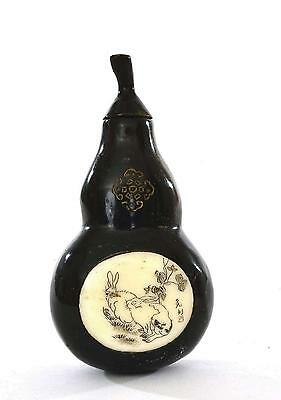 Chinese Hand Carved Water Buffalo Horn Gourd Shaped Snuff Bottle Chirography Sg