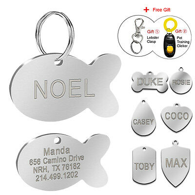 Engraved Custom Dog Tags Cat ID Name Plate Tags Disc Personalized FREE Clicker
