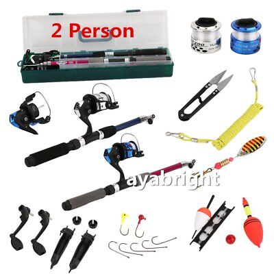 2 Person Junior/Beginner Fishing Reel, Rod, Hooks Novice Starter Kit Set UK Ship
