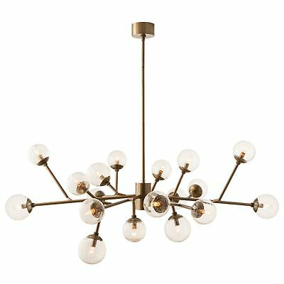 """58"""" Dia Chandelier Vintage Brass Canopy Finish Glass Crystal Gold Clear Seedy Gl"""