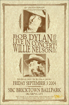 BOB DYLAN WILLIE NELSON Original Signed 2004 Oklahoma City Concert Poster
