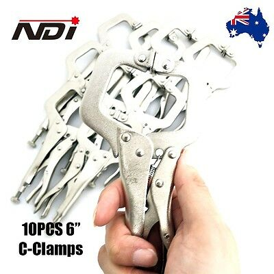 "NDI 10PCS Heavy Duty Steel 6"" C-Clamps Mig Welding Locking Plier Vice Grip N0106"