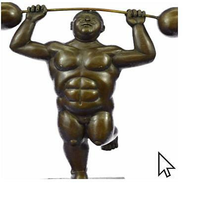 Bronze Sculpture Botero Style Tribute By Thomas 'The Weight Lifter' Sculpture S