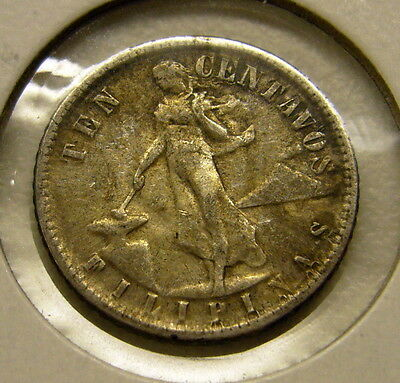 1944 D 10 Centavos Silver United States of America Philippines Coin