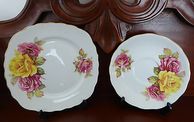 Royal Vale Roses Bone China Saucer & Plate