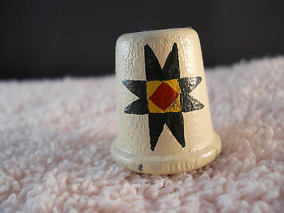 Vintage Collectible Hand Painted Wood Sewing Thimble