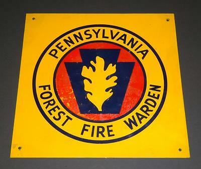 """Vintage Metal Tin Sign PENNSYLVANIA FOREST FIRE WARDEN Sign 12"""" X 12"""""""
