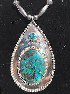 Sterling Silver High Grade Turquoise Big Necklace Pendant