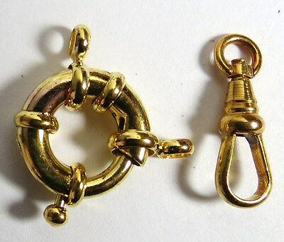 Vintage Pocket Watch Gold Tone 1 Clasp & 1 Swivel Made In Germany For Fob Chain