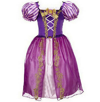 Girls Rapunzel Fancy Dress Costume Kids Princess Outfit UK Ages 2/3/4/5/6/7/8*