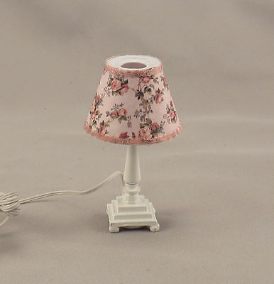 Dollhouse Miniature Pink Floral White Table Electric Lamp Lighted Light