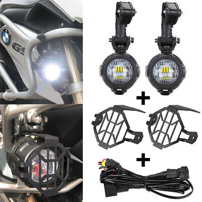 Cree LED Fog Lamp & Protect Guards & Wiring Harness Combo For BMW R1200 GS /ADV
