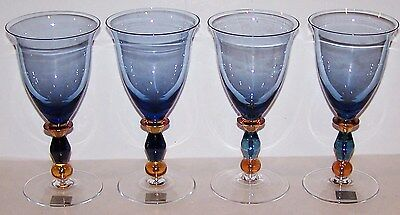 Stunning Mikasa Crystal Estate Slate Blue Set Of 4 Wine Glasses With Labels