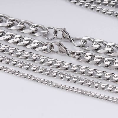 11mm Mens Boy Chain Curb Link Silver Tone Stainless Steel Necklace 18-36inch Hot