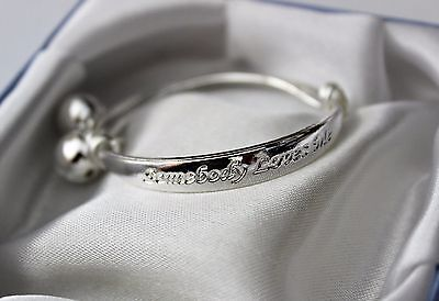 Baby Girls*somebody Loves Me * 925 Sterling Silver Plated Adjustable Bell Bangle