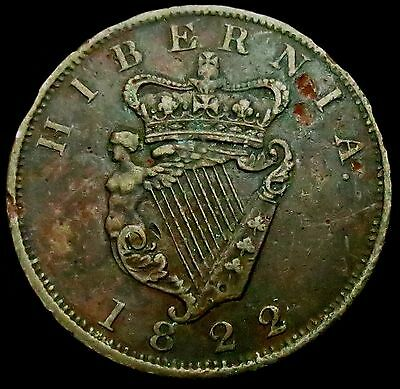 b8: 1822 Irish Large Copper Penny - George IV - Spink 6623 - uncommon