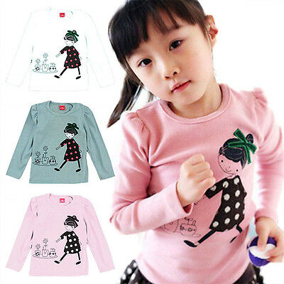 Toddler Baby Kid Girls Cotton Long Sleeve T-shirt Casual Top Blouse Clothes 2-7Y