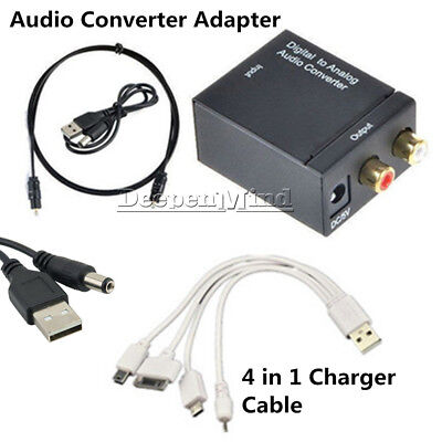 Digital 3.5mm Optical Coaxial Toslink to Analog Audio Converter Adapter RCA L/R