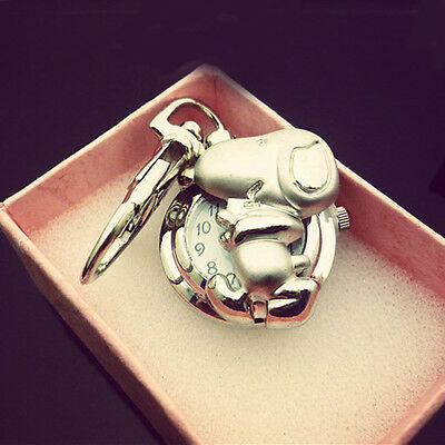 Cute Gift Silver Snoopy Dog Key Ring Children Girls Quartz Pocket Watch Watches