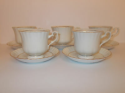 4 x Chodziez China Tea Cups and Saucers White with Gold Guild Lovely