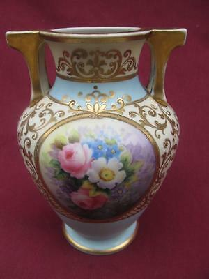 Nippon Porcelain Roses And Gold 7 1/2 Inch Two Handle Vase