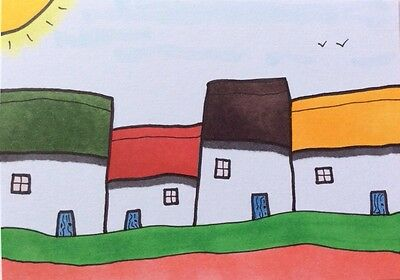 ACEO 184 Four Cottages Sunny Day Original Art Landscape Painting S Whitehead