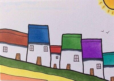 ACEO 179 Tiny Red Top Houses Home Original Art Landscape Painting S Whitehead