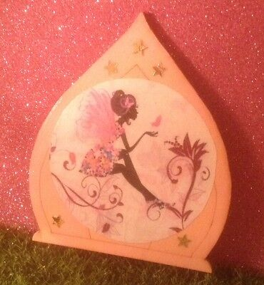 Fairy door with Fairy, flowers etc., Pink, Hand decorated and painted, NEW