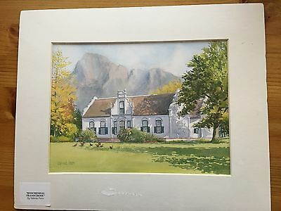 """Mounted Print of Boschendal Franschoek South Africa NEW Unopened 13"""" x10.5"""""""
