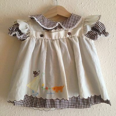 Vintage Baby 1970s Brown Gingham Twee Apron Smock Traditional 2 Part Dress 6-12