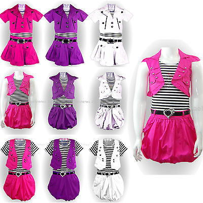 New Girls Belted Party Dress with Jacket Outfit Set Age 2 4 6 8 10 years