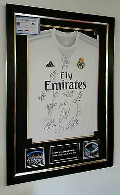 ** REAL Madrid Signed Shirt Display CHAMPIONS LEAGUE WINNERS ***