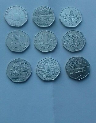 "9 X Rare Uk 50 Pence Coins Including """"""peter Rabbit"""""