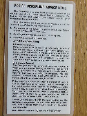 Ruc Police Discipline Advice Note Card