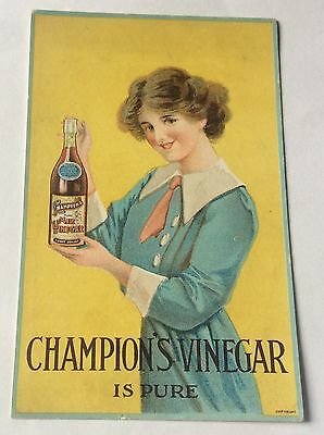 Early Champion Vinegar Poster Type Advertising Postcard With Glamour Girl